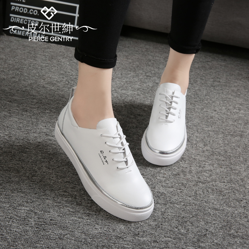 Pierre world gentry 2016 new shoes white lace shoes women flat shoes korean version of casual shoes leather shoes tide students