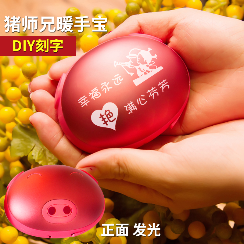 Pig upperclassman creative usb mini hand po po rechargeable electric heater hot water bottle proof electric cake cute mobile power diy