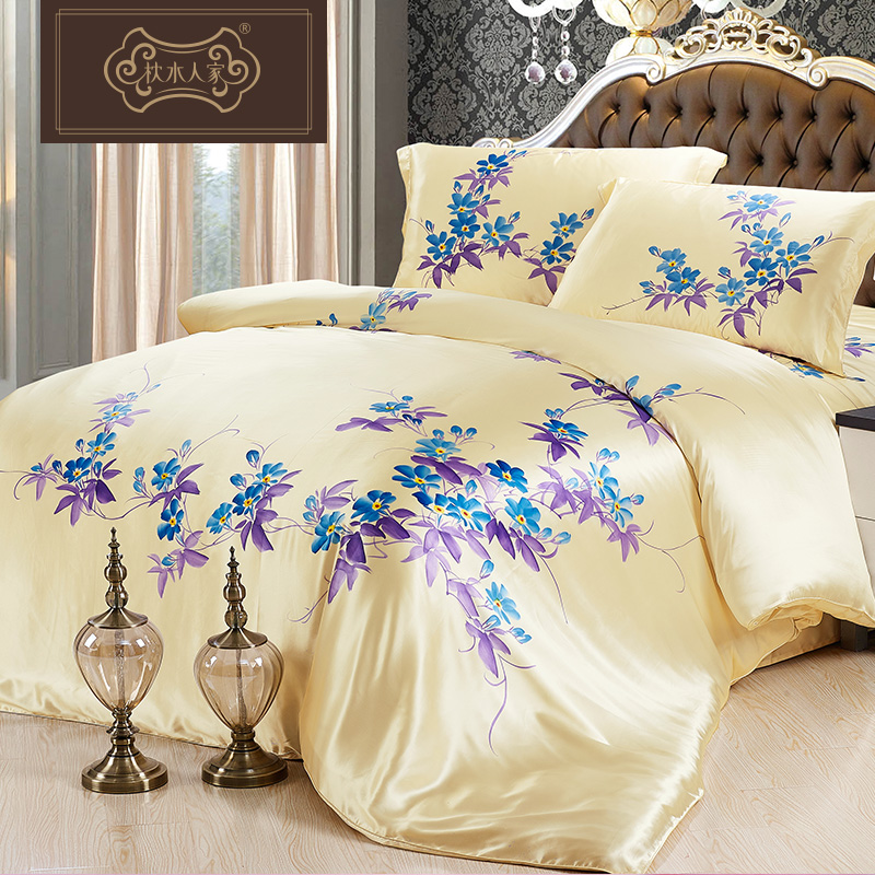 Pillow water people 100 silk bedding a family of three four sets of bedding sided band silkowrms silk painted silk suite