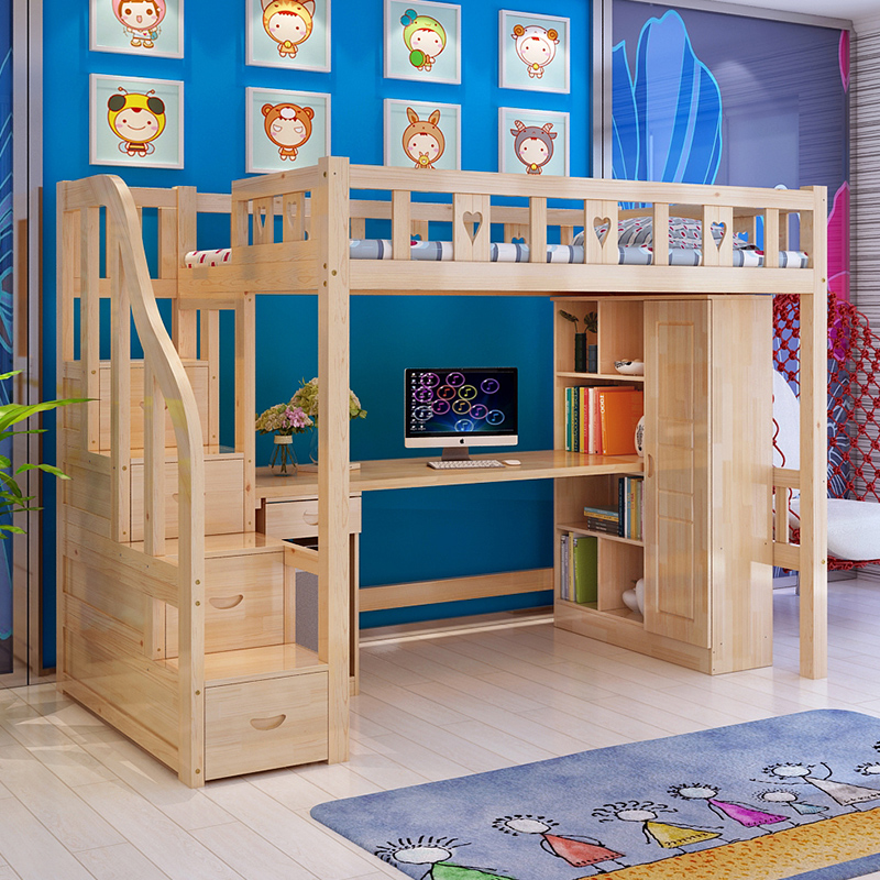 Pine wood children's bed combination bed loft bed bunk bed under the bed table bed desk wardrobe combination bed ladders