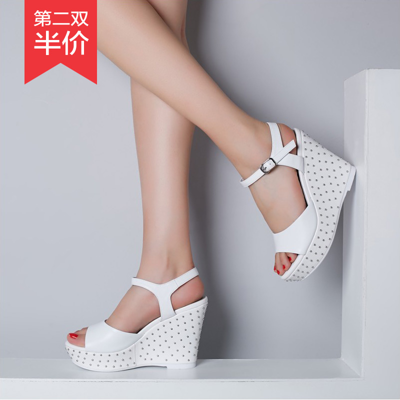 7201bd9425318c Get Quotations · Pink high heels sandals female summer sandals fashion  sandals muffin thick crust slope with real leather