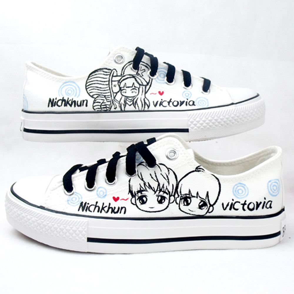 Pinpqi pooh couple shoes graffiti painted canvas shoes women shoes painted shoes to help low male korean version of the influx of students painted shoes