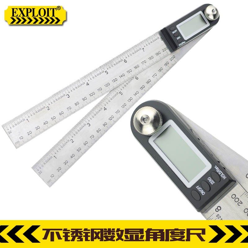 Pioneering 200-300mm stainless steel digital angle ruler ruler ruler protractor 220218 woodworking square