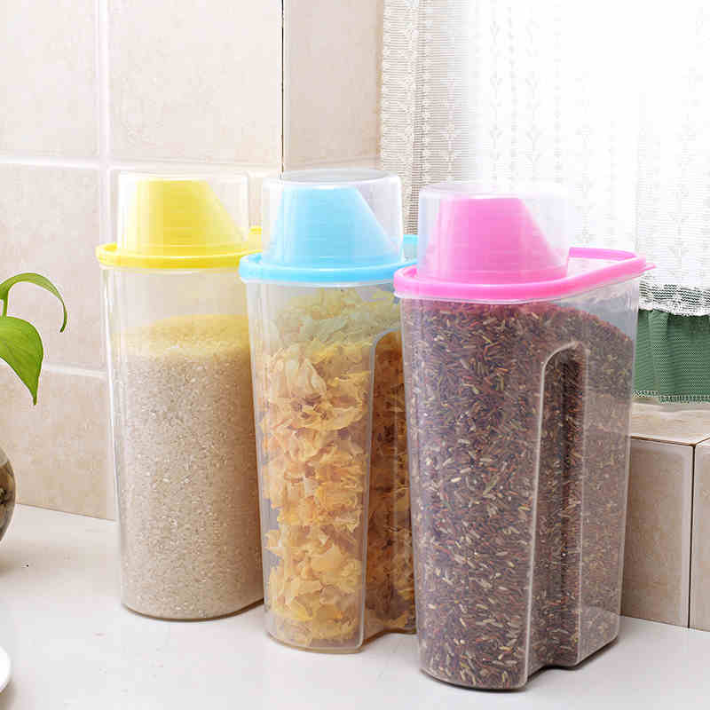 Plastic sealed bottles of whole grains dry beans crisper kitchen storage tank storage tank large covered storage box