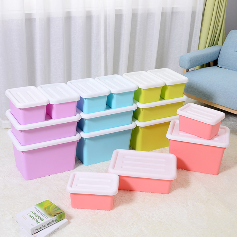 Plastic storage box storage box fitted clothes sorting box storage box trumpet snack box plastic box three sets