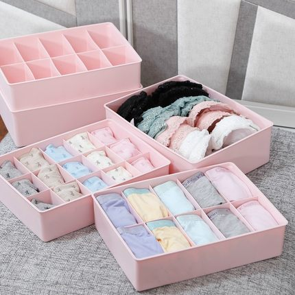 Plastic underwear storage box covered socks underwear bra storage box finishing box storage box material three sets