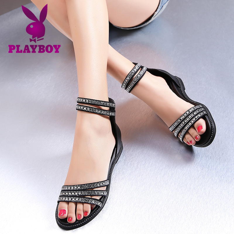 25b8c2759071f Get Quotations · Playboy men s shoes at the end of the summer 2016 new  diamond flat with flat sandals