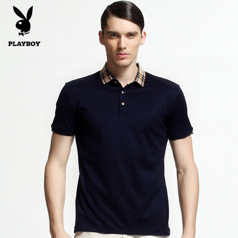 Playboy middle-aged men short sleeve t-shirt 2016 spring and autumn men's lapel mercerized cotton summer clothing