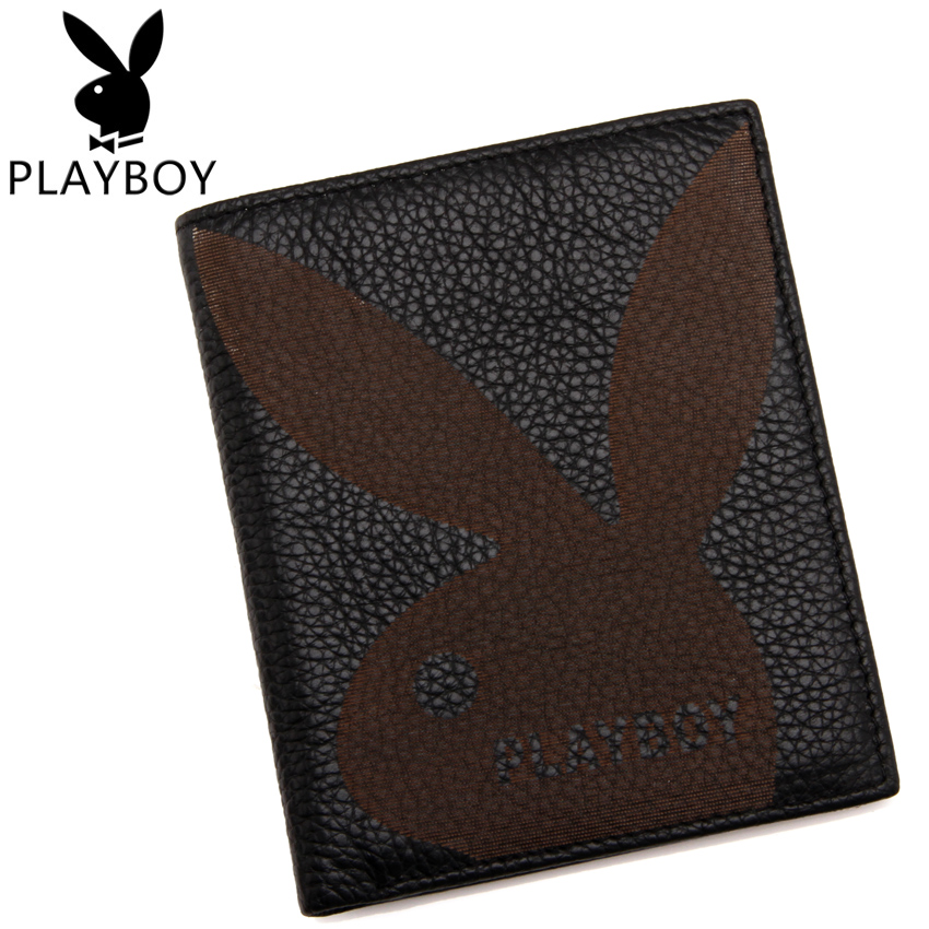 Playboy/playboy men's wallet genuine leather men's short wallet tide men first layer of leather wallet free shipping