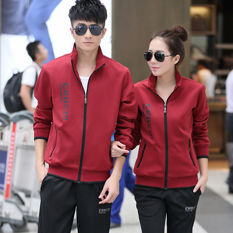 Plus thick velvet autumn and winter sports suit long sleeve cardigan collar casual sportswear for men and women couple sweater suit