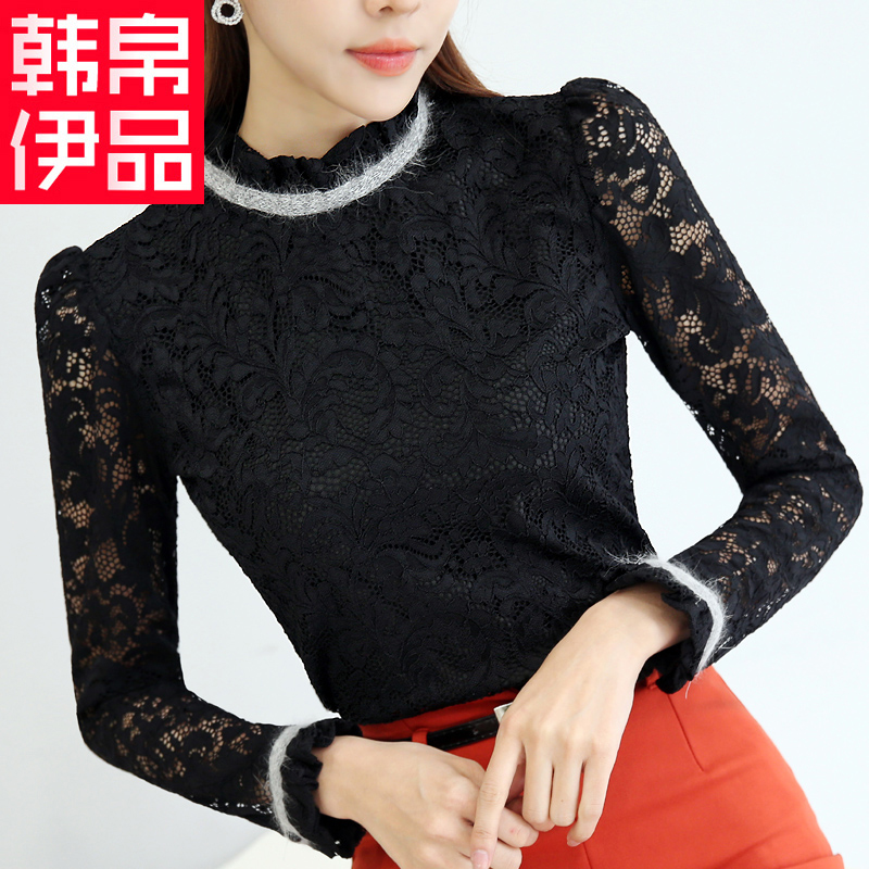 Plus thick velvet lace shirt female 2016 fall and winter clothes new women korean small shirt collar bottoming shirt long sleeve shirt