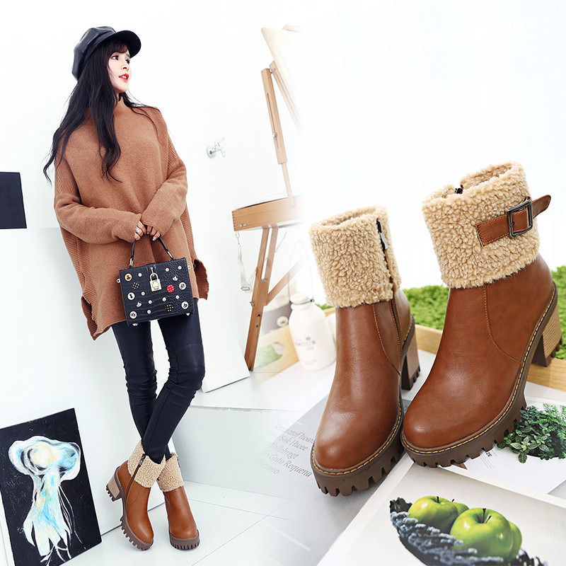 Plush thick crust thick with high heels boots waterproof boots 2016 autumn and winter in europe and america new leather zipper boots female buckle