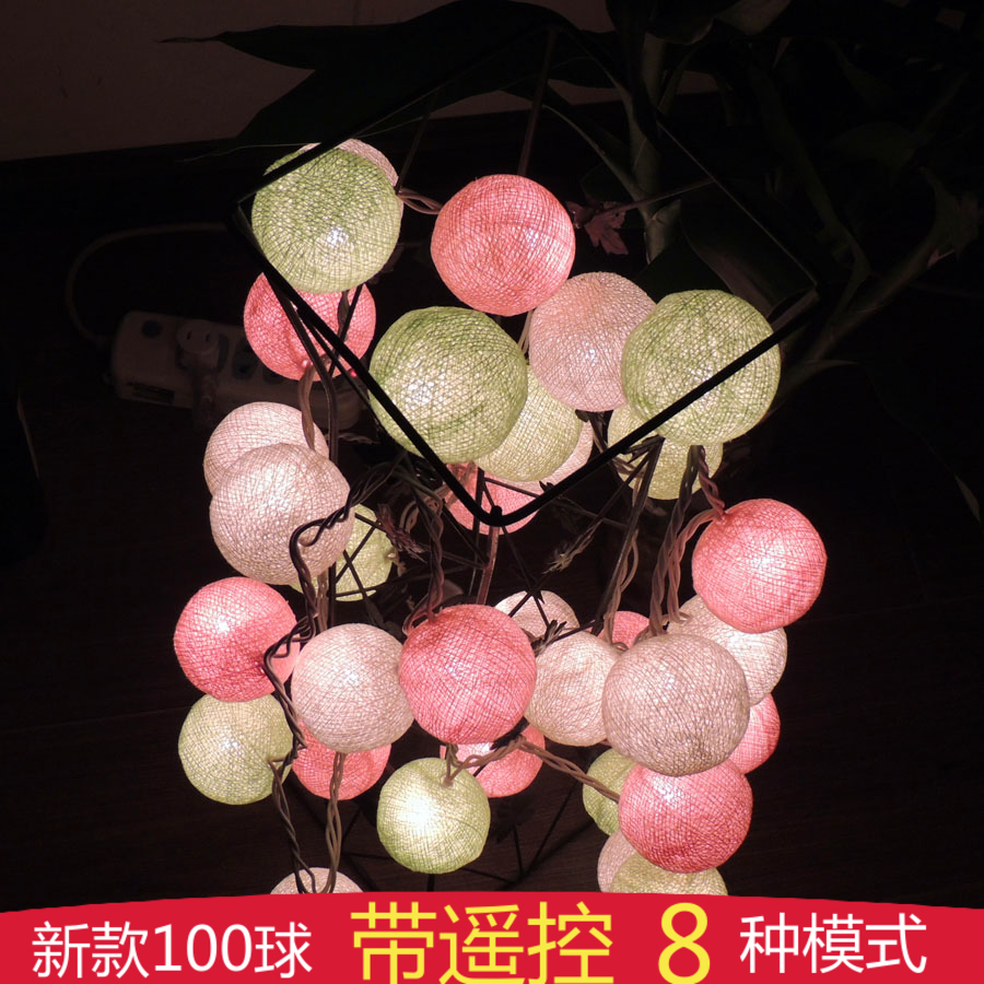 Poem maha thai cotton ball color battery models shipping arranged marriage room decoration led lantern string lights flashing string lights flashing