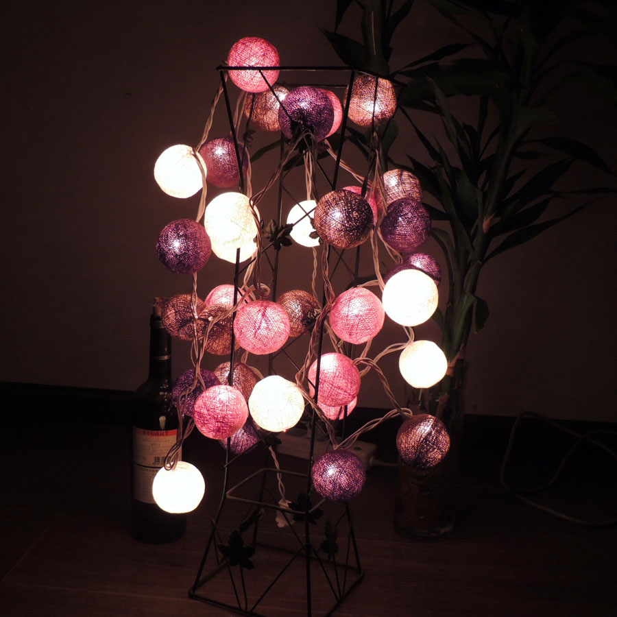 Poem maha thai line ball lights led lantern string lights flashing battery free shipping wedding room layout decorative lights