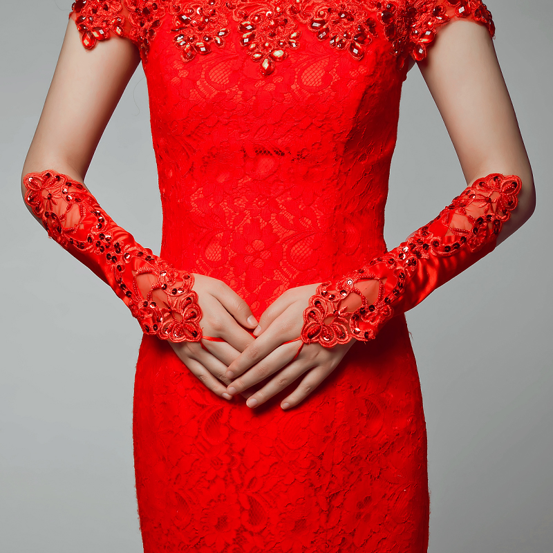 Poetry jiaqi na wentest. long section of the bride jewelry wedding dress embroidered long paragraph fingerless mitts hand decorated with red