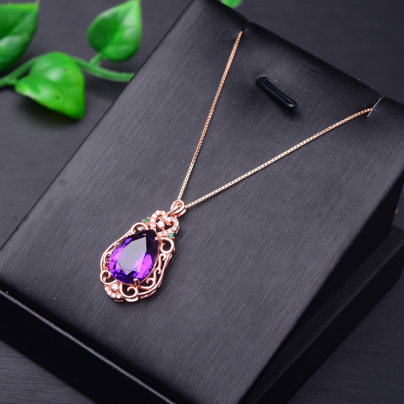 Poetry man jewelry pendant necklace rose gold plated 925 silver inlaid multicolored light luxury hong kong style handmade filigree craft