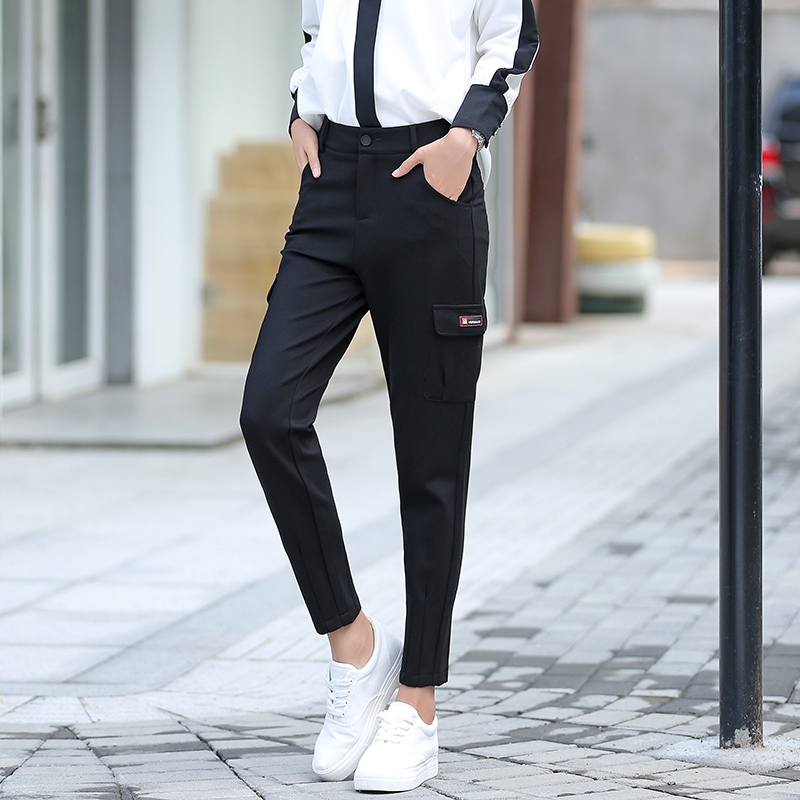 Poetry muya 2016 autumn new harem pants female feet black trousers nine points pencil pants low crotch pants collapse ladieswear