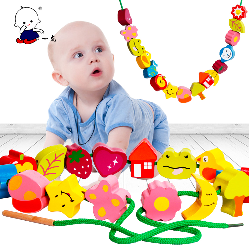 Point 16 color beaded beaded children's animal intelligence beaded wooden educational toys baby big grain bead early childhood
