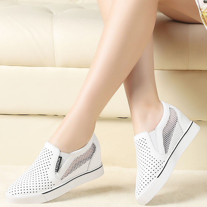 Pol meaning odd 2016 summer leather increased carrefour shoes women shoes hollow breathable mesh shoes lazy shoes 4603