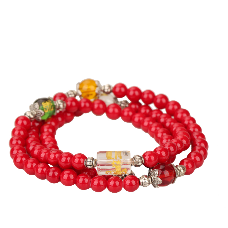 Poly edge court five reminder transport natural red agate beads bracelet multiturn natal female multilayer crystal jewelry bracelets