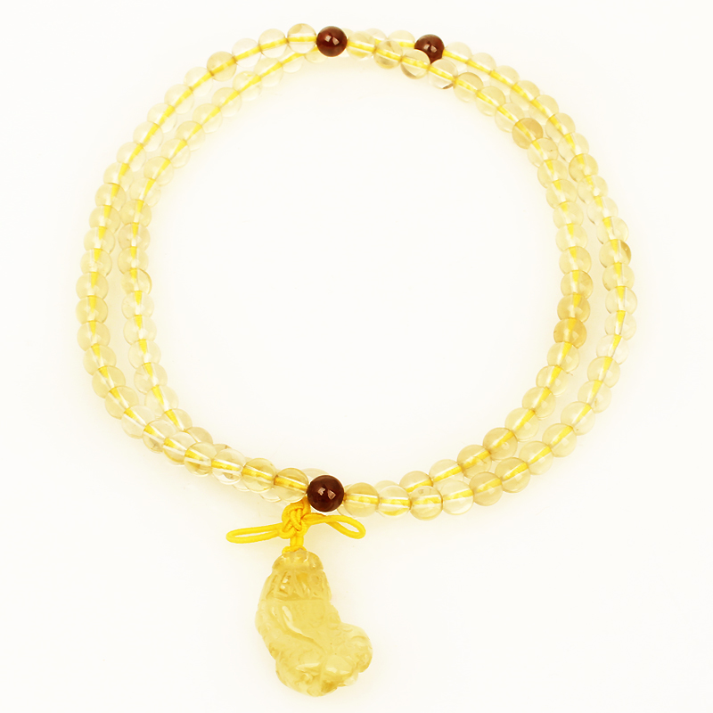 Poly edge court natural citrine necklace brave lucky crystal beads chain bracelet fashion jewelry elegant pendant