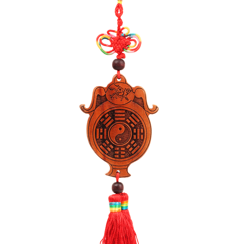 Poly edge court natural mahogany feng shui bagua mirror mahogany safe bottle pendant ornaments hanging ornaments home decorations