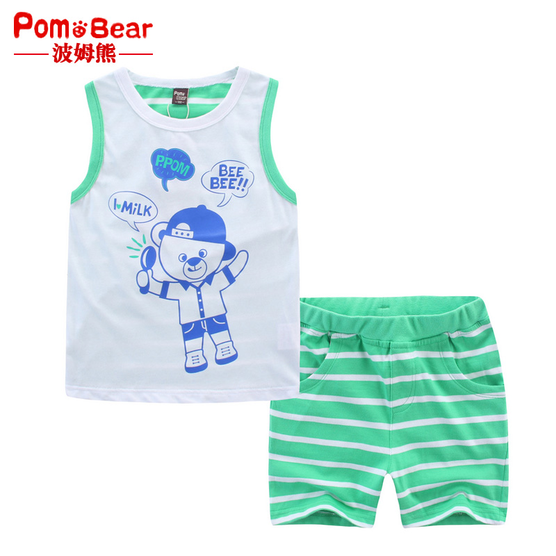Pom bear children's clothing boutique boys in children new clothes 2016 summer models lightweight breathable cool summer shorts suit vest