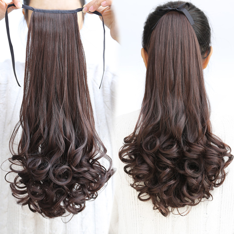 Ponytail wig ponytail strap style lifelike female long hair wig big wave long ponytail wig piece of pear flower head