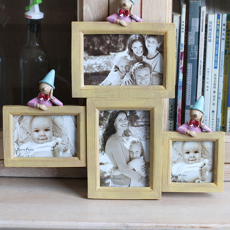 Porus pastoral resin photo frame baby gifts baby birthday photo frame creative photo frame multicolor 4 hole wall photo frame
