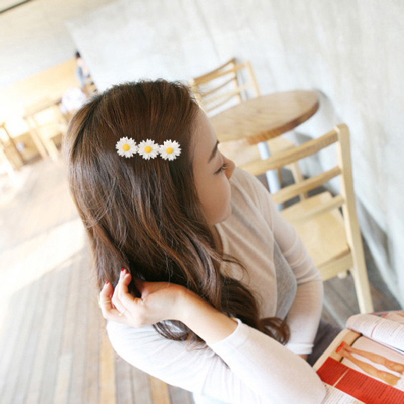 Powder korean small daisy flower hair accessories hair rope korean soft sister daisy hair ring hairpin headdress small fresh japanese