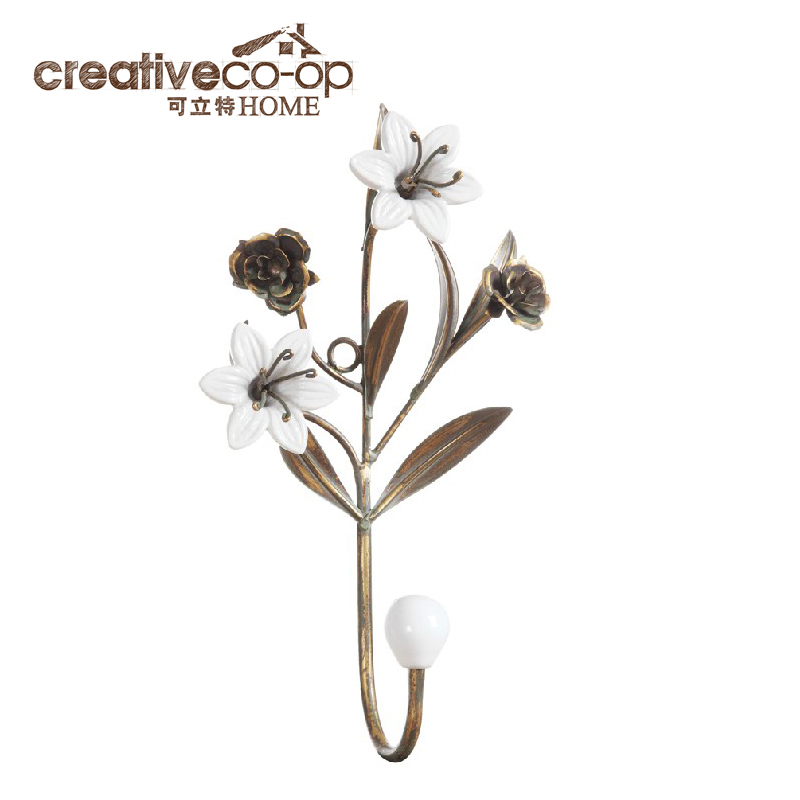 Pre-2015 can litas creative home american country home accessories ceramic flower metal hook