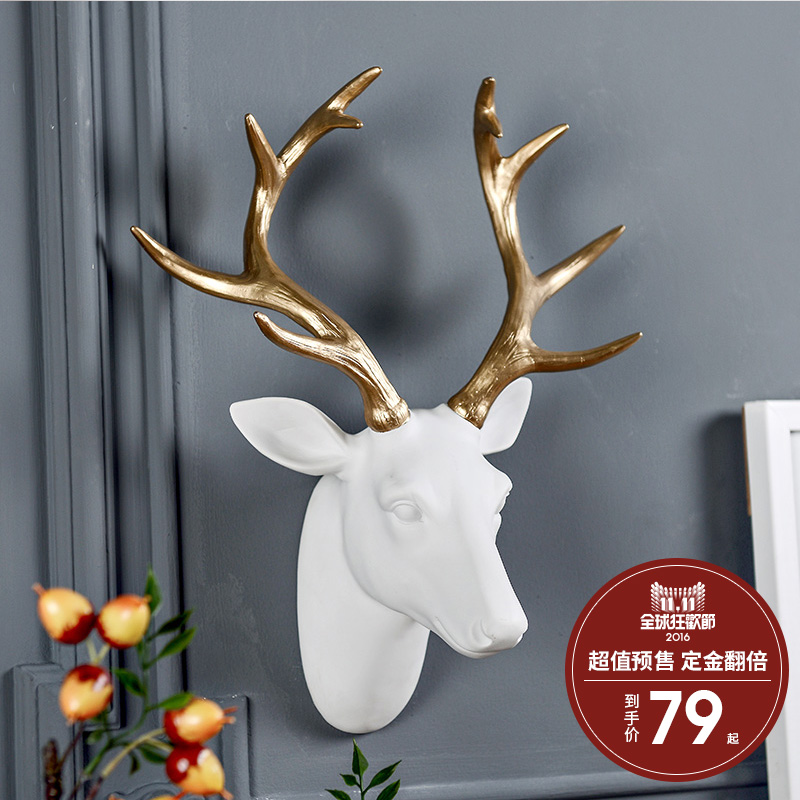 [Pre] odd ranks yield american retro resin decorative wall mural wall hangings lucky deer [a variety of optional ]