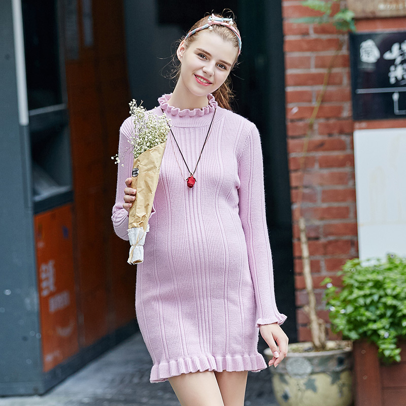 Pregnant women dress and long sections of pregnant women maternity winter knit skirt autumn and winter 2016 new long coat tide mom s3