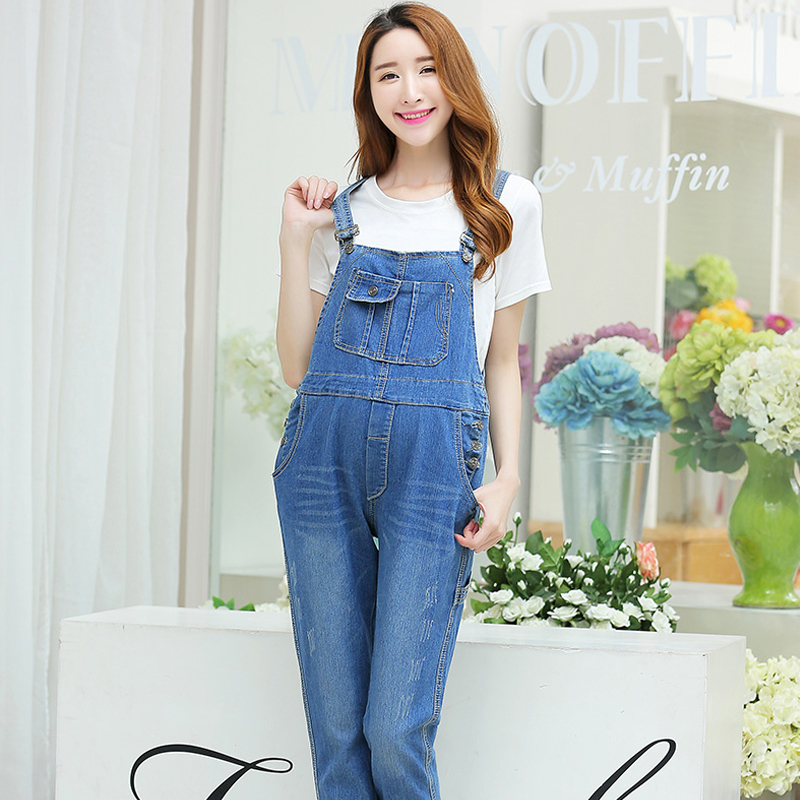 Pregnant women overalls spring and autumn paragraph denim maternity hitz korean yards pregnant women pants trousers free shipping