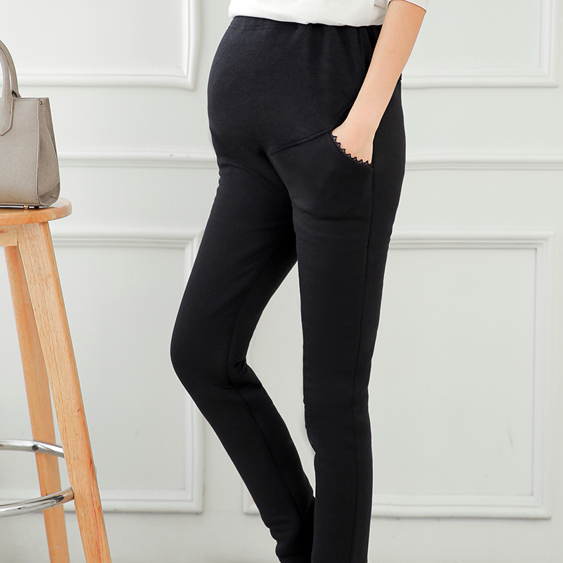 Pregnant women plus thick velvet leggings outer wear large size pencil pants care belly warm pants when still wild winter was thin Influx of men