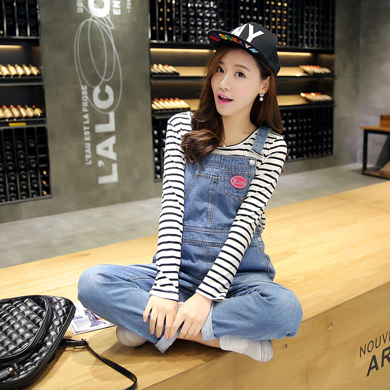 Pregnant women pregnant women denim overalls fall and winter was thin trousers casual pants care of pregnant women pregnant belly pants suspenders piece pants