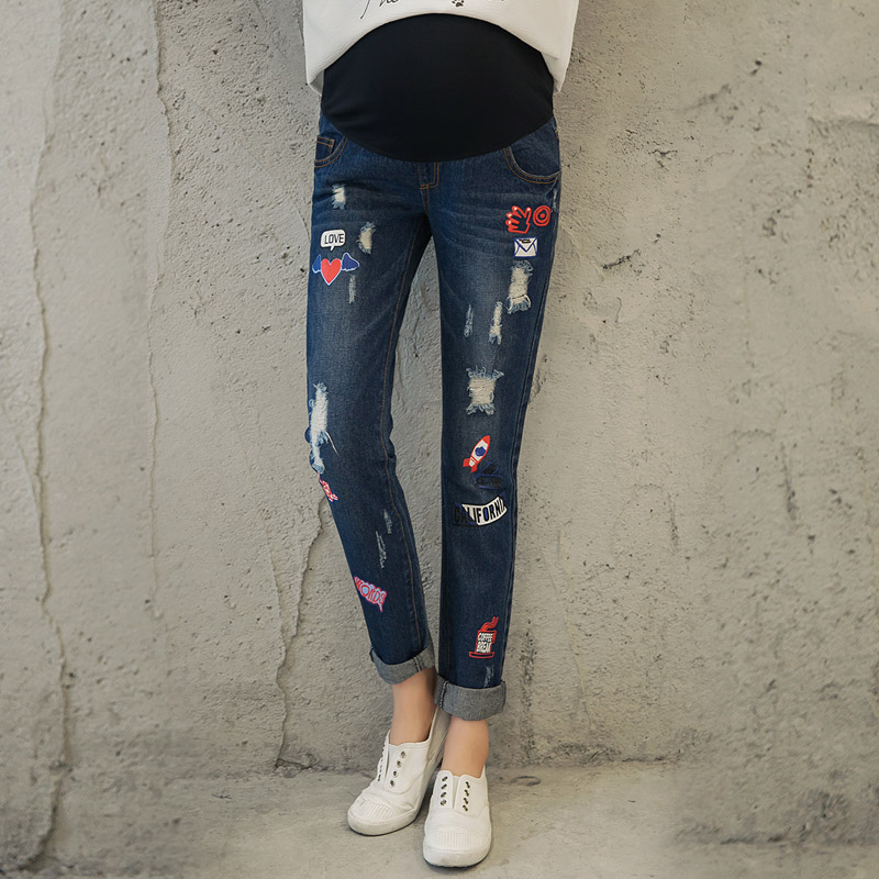 e15658b38828c Get Quotations · Pregnant women pregnant women loose straight hole jeans  pants feet bottoming outer wear maternity pants maternity