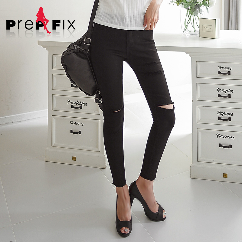 Prep & fix korean version was thin elastic feet pencil pants worn black nine points jeans female tide spring and summer