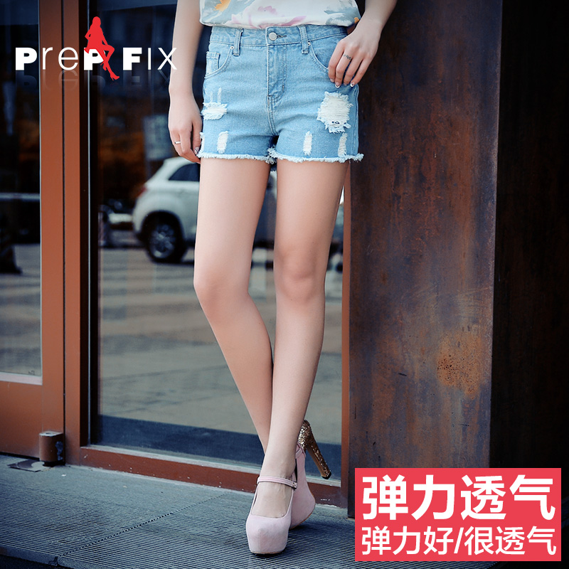 Prep & fix2015 summer korean fashion was thin frayed denim shorts female summer tide thin section waist shipping
