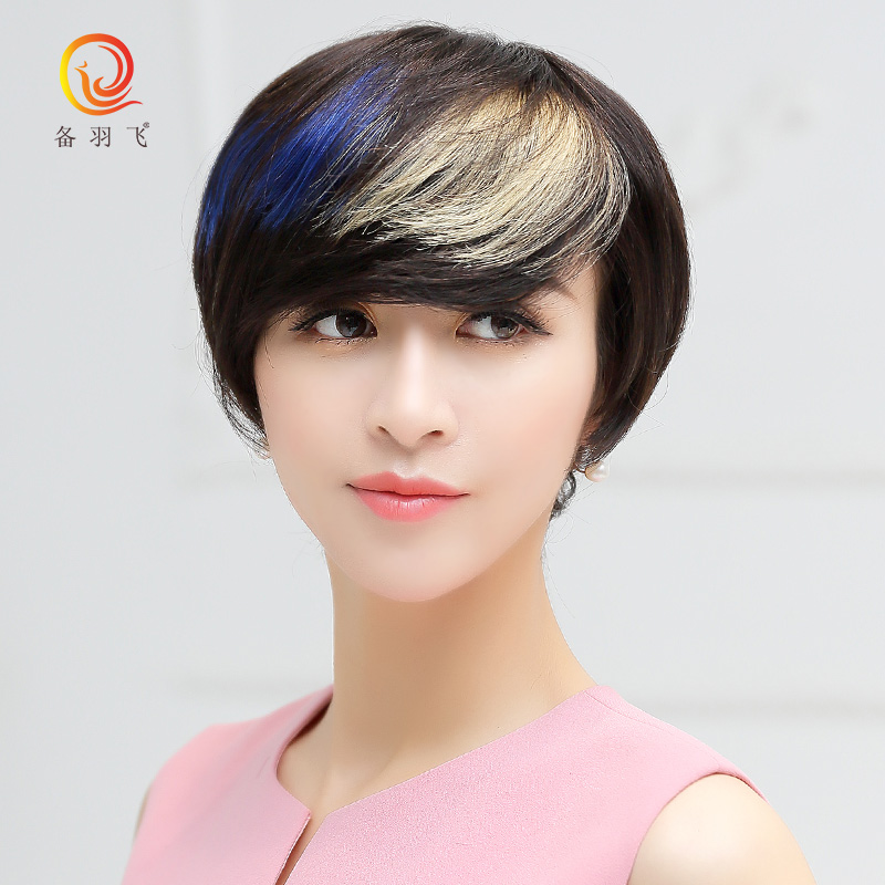 Prepare yufei real hair streaked wig wig wig female fashion night games pick white wig real hair wig sets