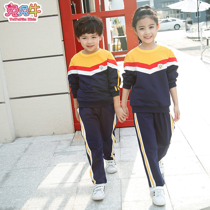 Primary and secondary school uniforms suits spring sports clothing sportswear middle school kindergarten students dress uniforms fall and winter clothes suit