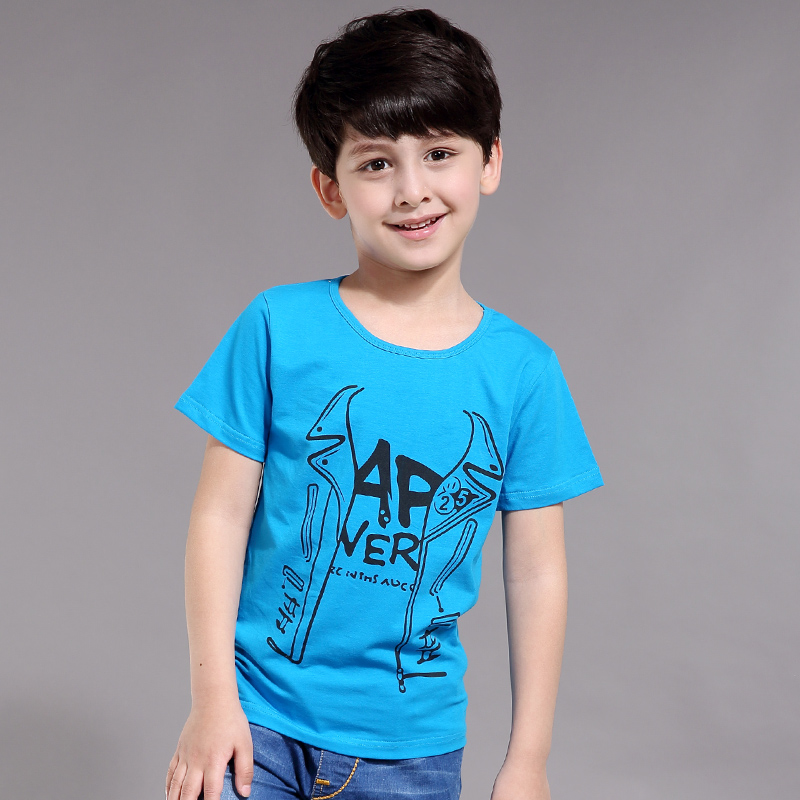 Prince fu 2015 summer children's clothing children short sleeve t-shirt boys short sleeve t-shirt big boy cotton round neck t-shirt tide