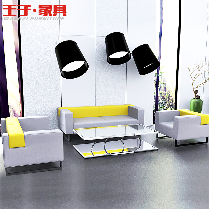 [Prince] modern business office sofa table combination of stylish office to be connected to the three bits of fabric sofa