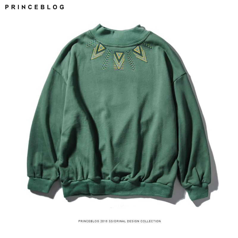 PrinceBlog2016 autumn new fashion trend personality embroidered round neck sweater wild influx of male body repair