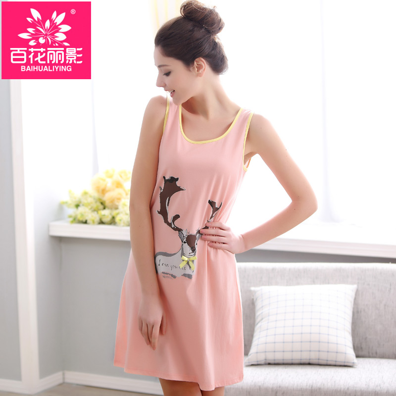Princess nightgown female summer cotton sleeveless leotard pajamas nightgown female summer models big yards casual cute pajamas
