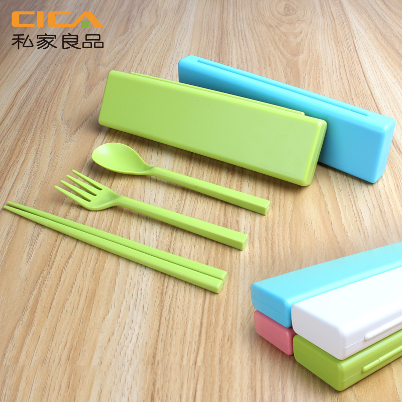 Private yield genuine three sets of boxed cute portable folding chopsticks spoon fork cutlery portable environmental