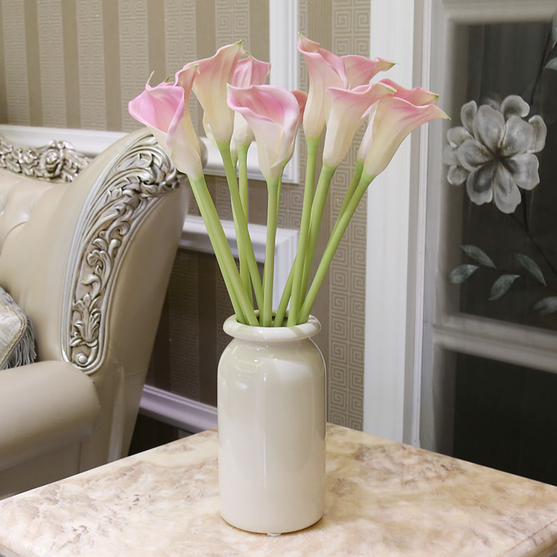 Pu feel artificial flowers calla white ceramic vase suit artificial flowers artificial flowers floral decoration living room furnishings potato