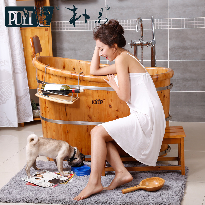 Pu yi cedar bath barrel cask adult bath tub bath barrel cask lid wood single fumigation spa