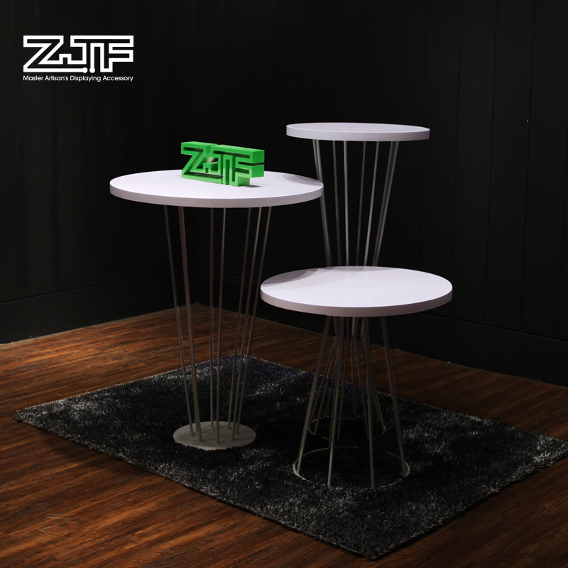 Public carpenter square zjf clothing store water table white wood round the island shelf display shelf display rack display cabinet xiamen d2'