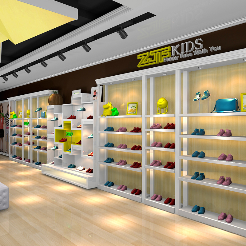 Public carpenter square zjf shoes entity shop decoration design renderings full set of shop design fees display shelf